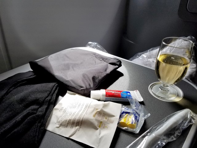 We each had a nice little 'care package'' waiting for us at our seats - they had things like toothpaste and socks - cool!