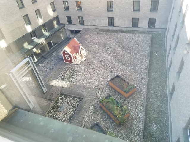 View from our room - a little courtyard in the middle of the hotel - for pets? Kids?