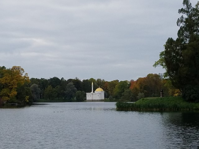 We were told that the building WAY across the lake was a memorial for Catherine's dogs