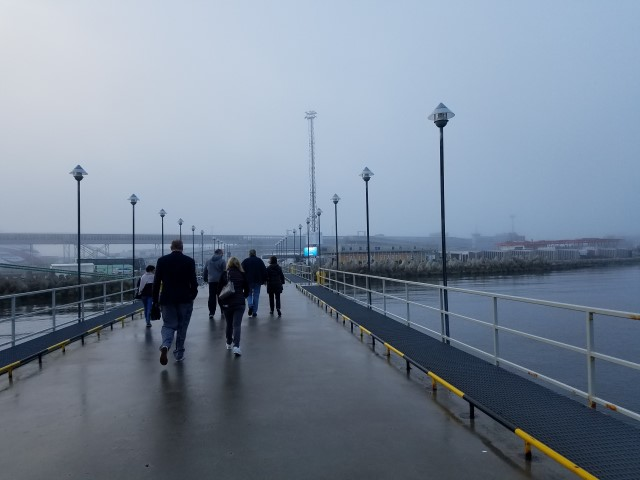 Walking from the ship to the bus - foggy morning