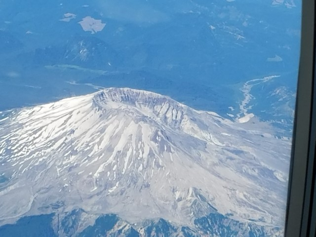 We flew over Mt. St. Helens on our way from LAX to Vancouver, BC