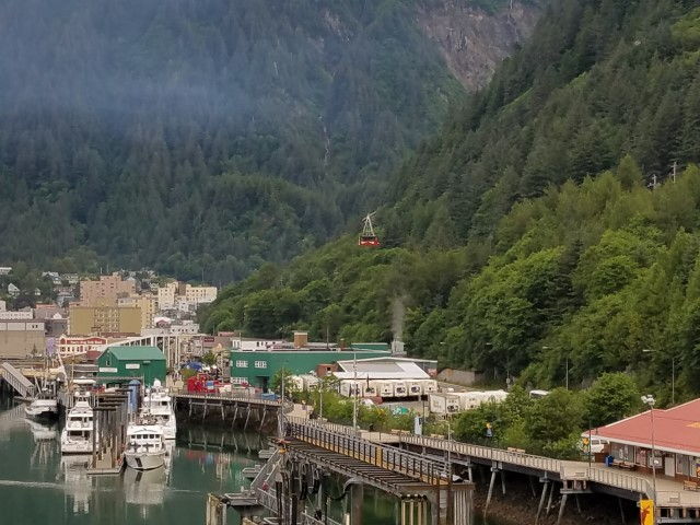 The view of Juneau from our ship. We rode that cable car later in the day.