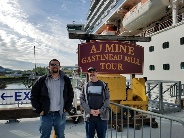Adam and Kevin alongside our ship in Juneau