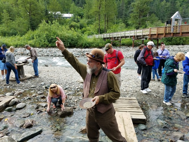 Our guide - giving us pointers on how to pan for gold.